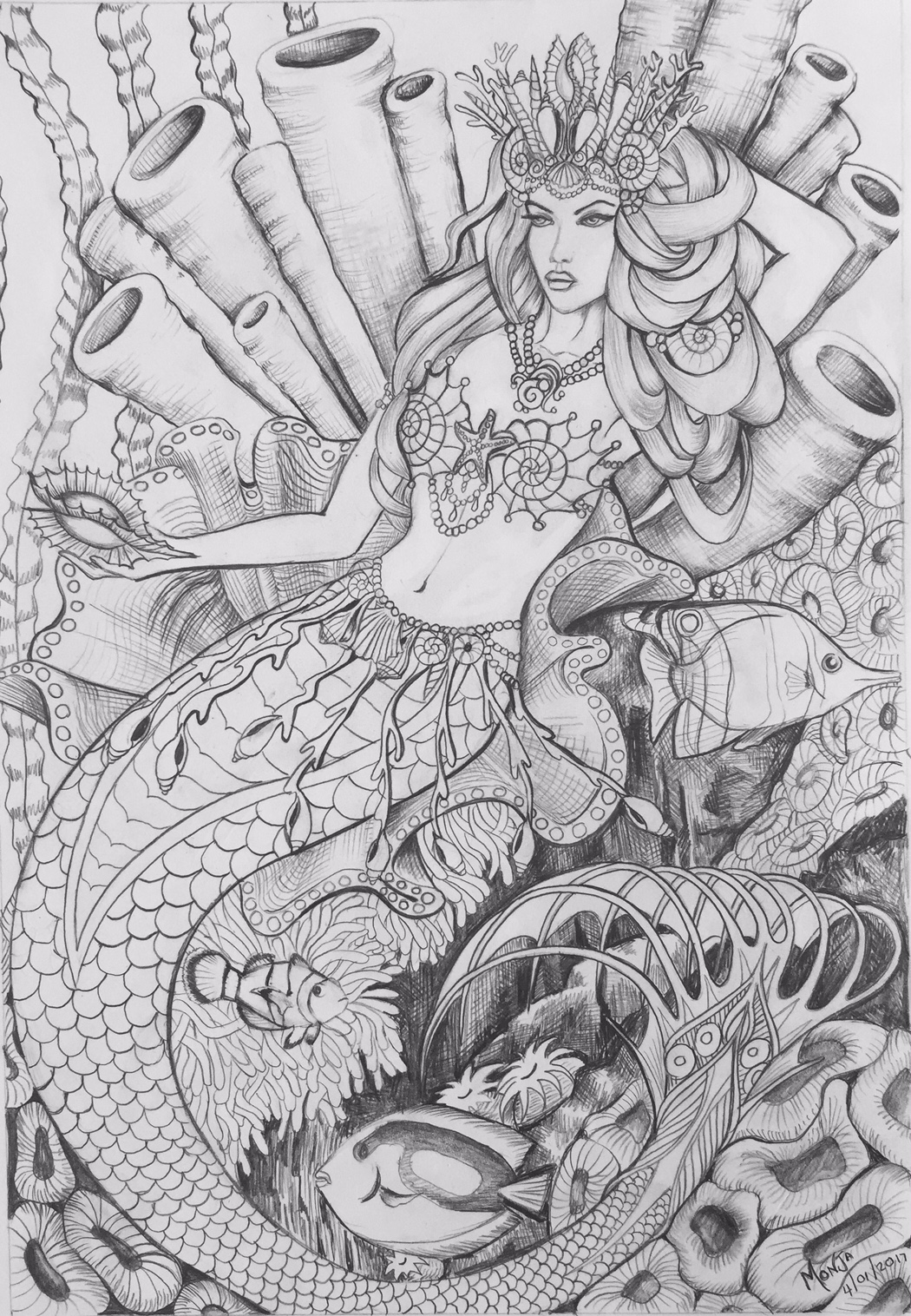 colouring pages mermaid queen colour my dreams